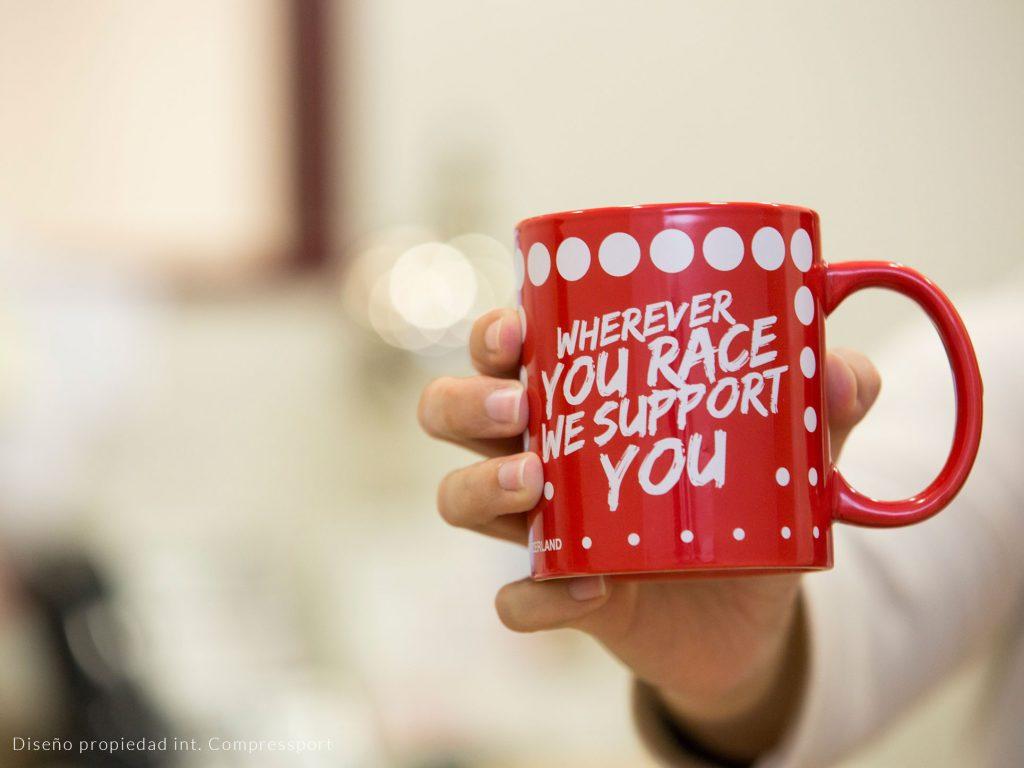 Personalized red ceramics mug with a white design
