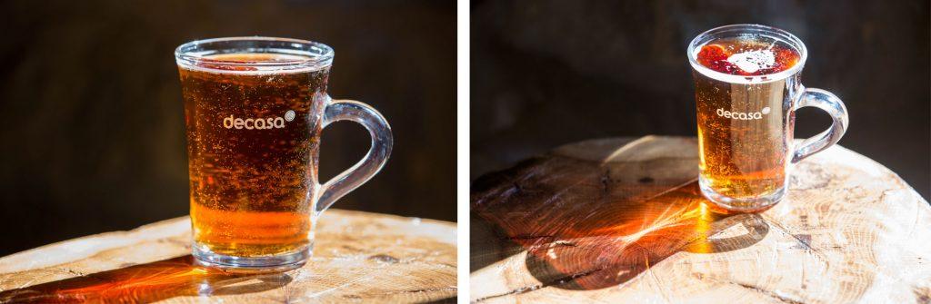 Glass mug with a company logo