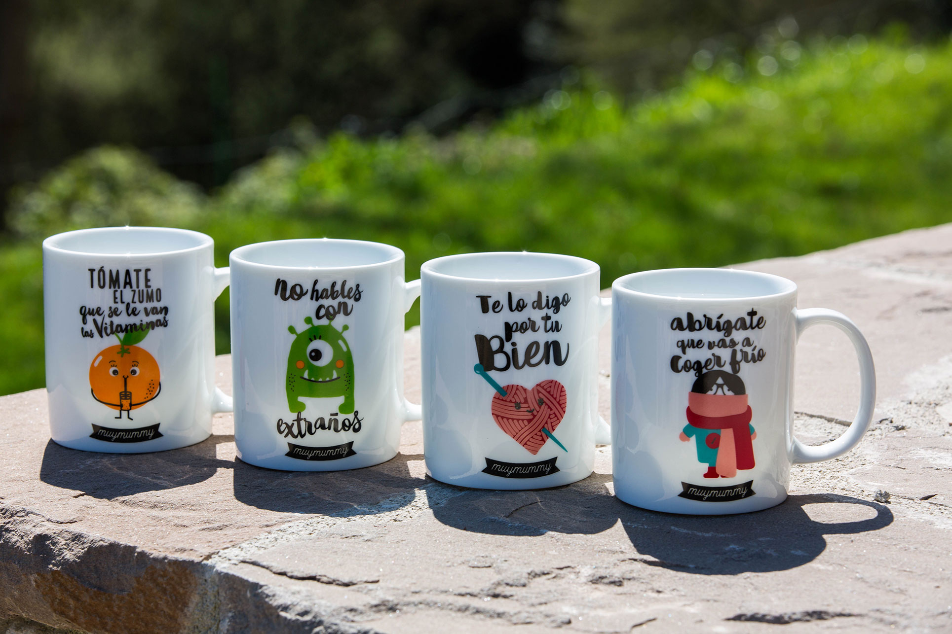 A collection of porcelain mugs with nice and funny imprints