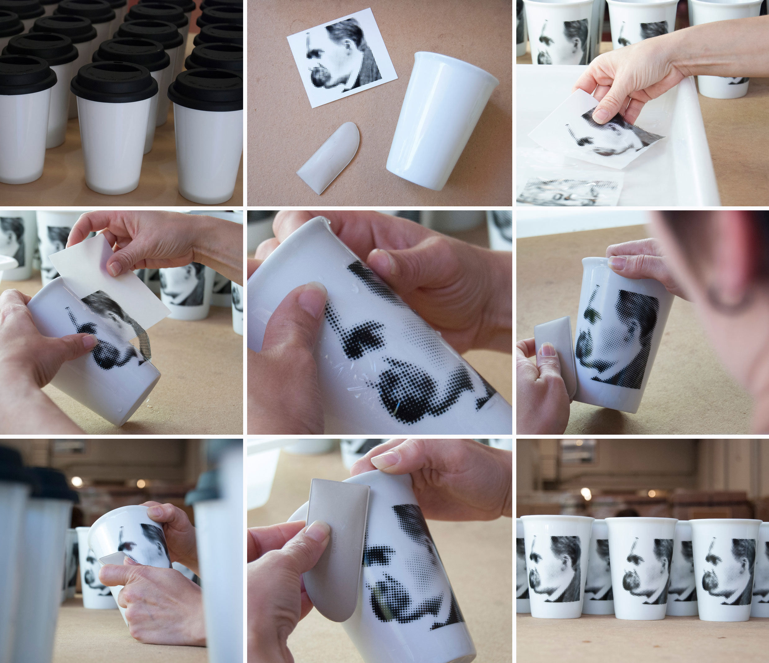 porcelain to go mugs being decorated with transfer decals