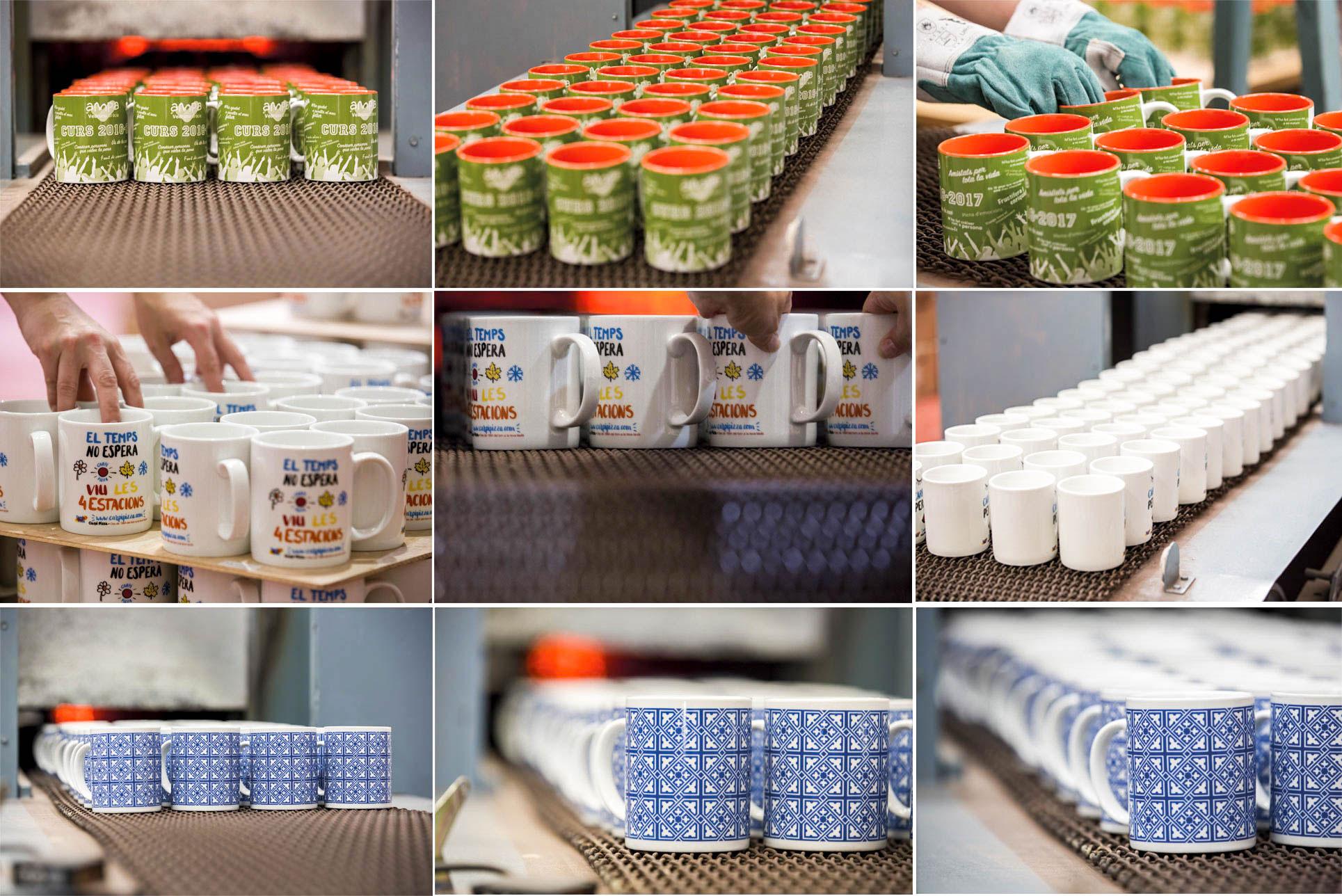 imágenes proceso cocción de tazas personalizadas en horno continuo
